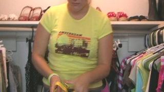 Round Nubile Hotty Christy Attempting Her Fresh Yellow Footwear Within The Closet